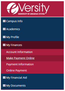 Click on My Finances and then Make Payment Online.
