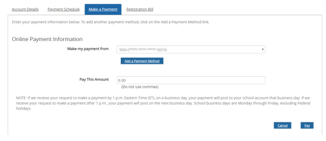 Add a Payment Method if this is the first time you've made a payment